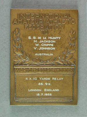 IAAF World Record plaque for 4x110 yards relay, London 15 July 1952