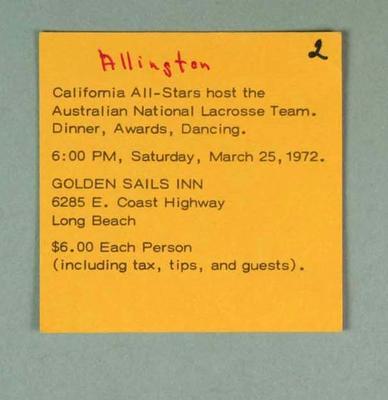 Ticket - California all-Stars hosting Australian National Lacrosse Team, 25 March 1972