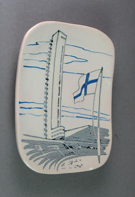 Ceramic plate, manufactured for 1952 Helsinki Olympic Games