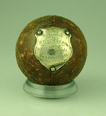 Cricket ball presented to R Whitehead, 1922-23