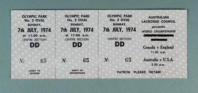 Lacrosse World championship ticket no. 65,  7 July 1974, Canada v England, Australia v USA