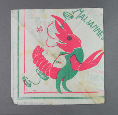 Serviette, with prawn and Norwegian greeting design c1952