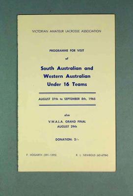 South Australian & Western Australian Under 16 Lacrosse Teams programme 27 August - 8 September 1965