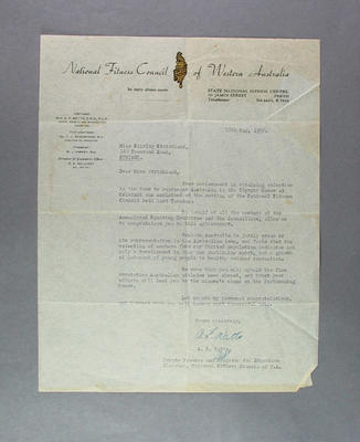 Letter to Shirley Strickland from National Fitness Council of WA, 16 May 1952