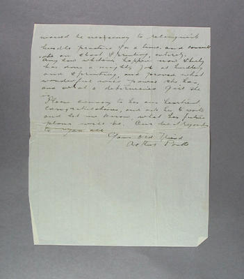 Letter to David Strickland from Arthur Postle, 1 August 1952
