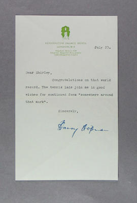 Letter to Shirley Strickland from Harry Hopman, 23 July 1952