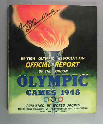 Official report of 1948 Olympic Games, signed by Shirley Strickland