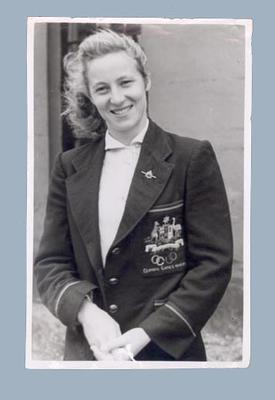 Photograph of Shirley Strickland in 1952 Helsinki Olympic Games uniform