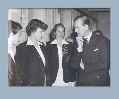 Photograph of Marjorie Jackson and Shirley Strickland meeting The Duke of Edinburgh, 1952 Olympic Games
