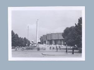 Photograph of 1952 Helsinki Olympics Games stadium and tower