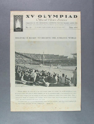 """Newsletter, """"XV Olympiad Official News-Service"""" no15 June 1952"""