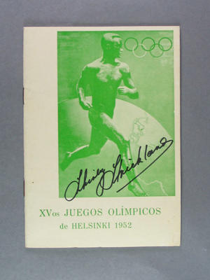 Programme for 1952 Helsinki Olympic Games in Spanish, signed by Shirley Strickland