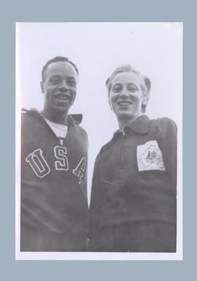 Photograph of Shirley Strickland with USA athlete, 1952 Olympic Games