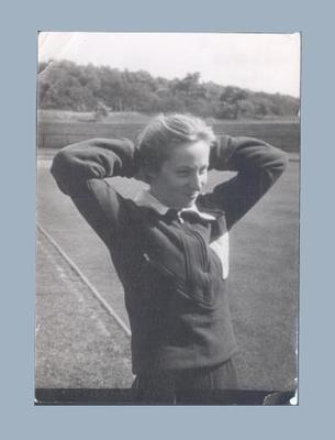 Photograph of Shirley Strickland at athletics track, c1952
