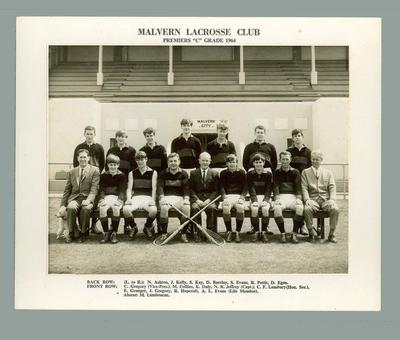 Black and white photograph -  Malvern Lacrosse Club, Premiers 'C' Grade 1964; Photography; 1986.1442