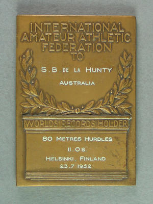 IAAF World Record plaque for 80m hurdles, Helsinki 23 July 1952