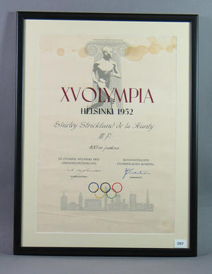 Diploma awarded to Shirley Strickland for third place in 100m, 1952 Olympic Games