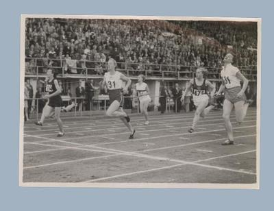 Photograph of women's 100m heat finish line, 1952 Olympic Games