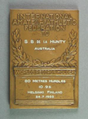IAAF World Record plaque for 80m hurdles, Helsinki 24 July 1952