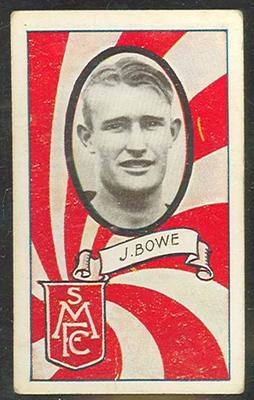 1933 Allen's Australian Football John Bowe trade card; Documents and books; 1987.1871.101
