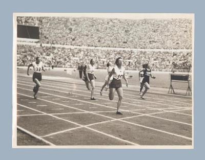 Photograph of women's 100m final finish line, 1952 Olympic Games