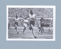 Trade card featuring photograph of women's 100m final finish line, 1952 Olympic Games