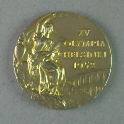 Gold medal won by Shirley Strickland in 80m hurdles event, 1952 Olympic Games