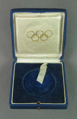 Case for gold medal won by Shirley Strickland in 80m hurdles event, 1952 Olympic Games