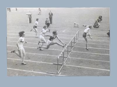 Photograph taken during women's 80m hurdles final, 1952 Olympic Games