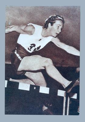 Photograph of Shirley Strickland hurdling, 1952 Olympic Games