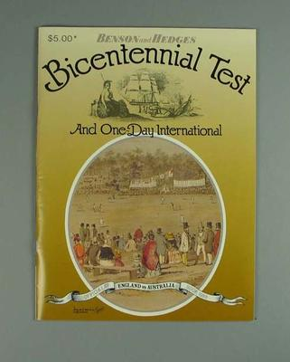 Programme, Benson and Hedges Bicentennial Test & One Day International - 1988