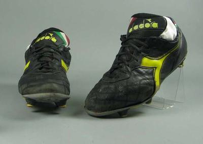 Pair of soccer boots, worn by Paul Wade c1993