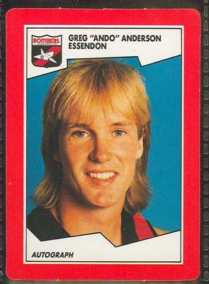 1989 Stimorol The Sportsman's Gum [Scanlens Sweets Pty. Ltd.] V.F.L. -  Greg 'Ando' Anderson Trade Card No. 63