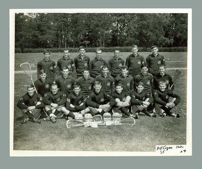 Black and white photograph of 1967 Australian Lacrosse Team, 1st World Championships, Toronto.; Photography; 1986.1447