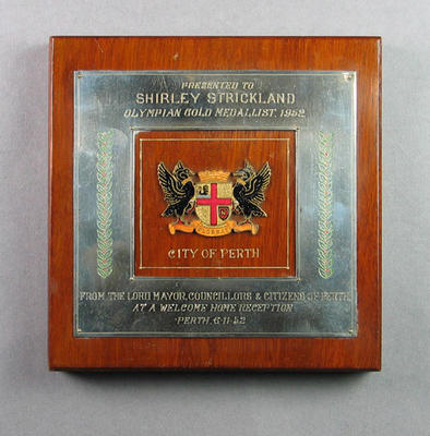 Plaque presented to Shirley Strickland by the City of Perth, 6 November 1952