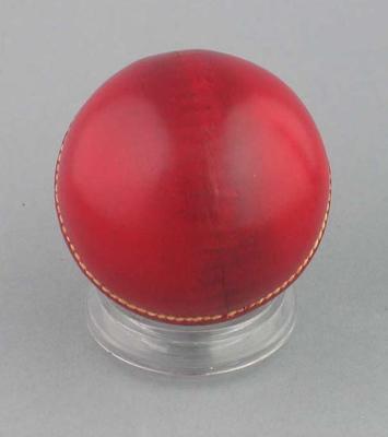 Unused cricket ball c. 1940s; Sporting equipment; M10548.2
