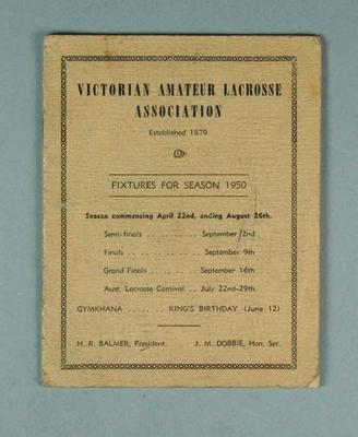 Victorian Amateur Lacrosse Association programme - Fixtures for season 1950