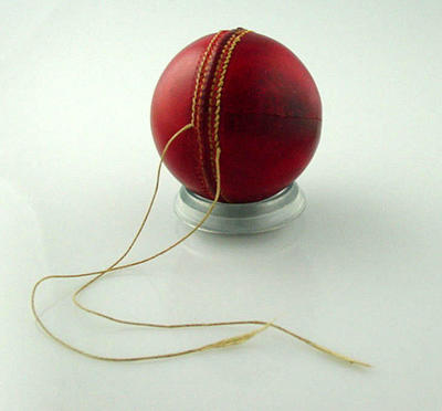 Unused cricket ball c. 1940s, partially stitched; Sporting equipment; M10548.4