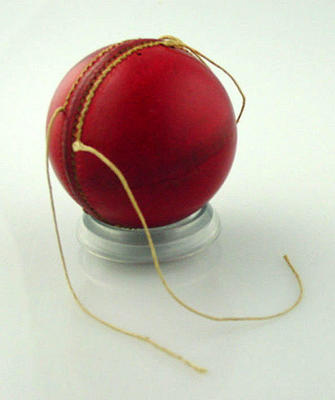Unused cricket ball c. 1940s, partially stitched; Sporting equipment; M10548.5