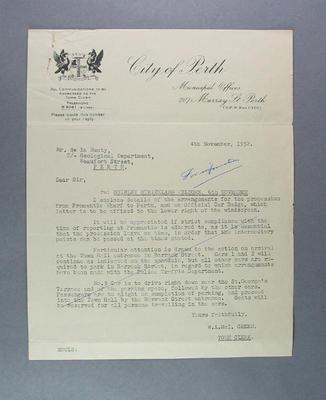Letter from W Green to L de la Hunty regarding itinerary for procession, 4 Nov 1952