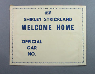 Paper car badges used for Welcome to Perth procession, 6 November 1952