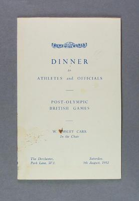 Menu for British Games dinner, The Dorchester 9 August 1952