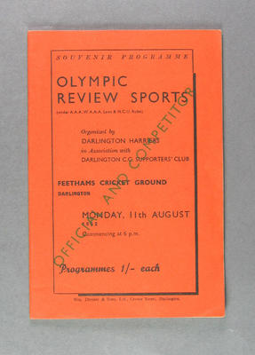 Programme for Olympic Review Sports, Feethams Cricket Ground 11 August 1952