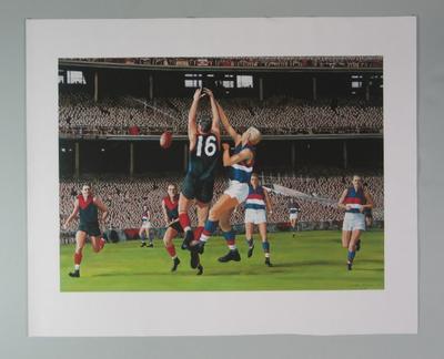 Print, depicts Melbourne FC v Footscray FC match at MCG