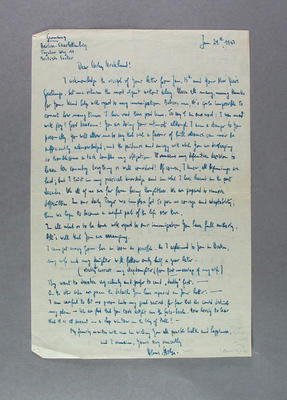 Letter from Hans Stolze to Shirley Strickland, 29 Jan 1953; Documents and books; 2003.3903.854