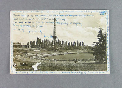 Postcard from Hans Stolze to Shirley Strickland, 2 August 1953