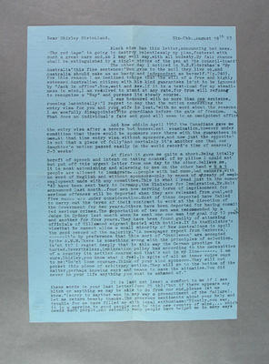 Letter from Hans Stolze to Shirley Strickland, 18 August 1953; Documents and books; 2003.3903.859.1