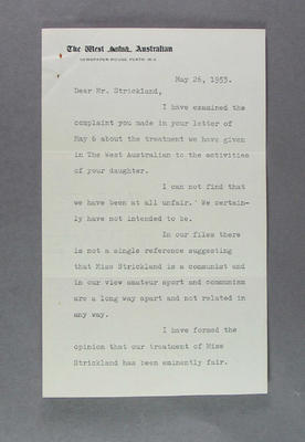 Letter to VE Strickland regarding treatment of Shirley Strickland by The West Australian, 26 May 1953