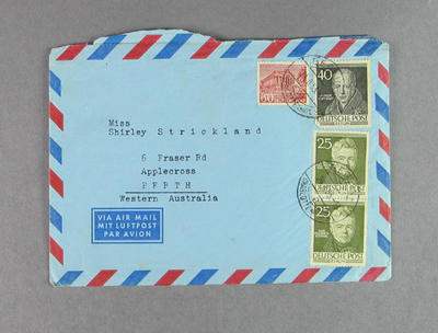 Envelope addressed to Shirley Strickland, 28 Aug 1953; Documents and books; 2003.3903.859.3