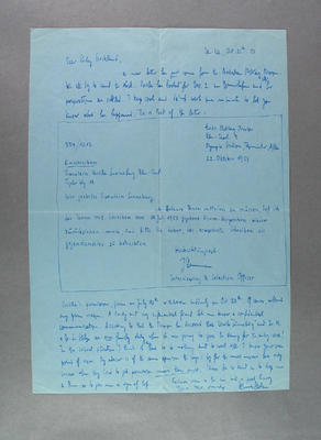Letter from Hans Stolze to Shirley Strickland, 26 October 1953
